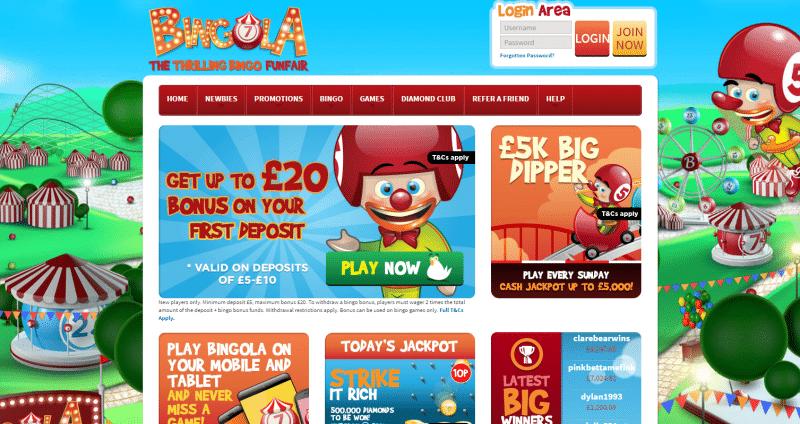 Bingola Bingo homepage