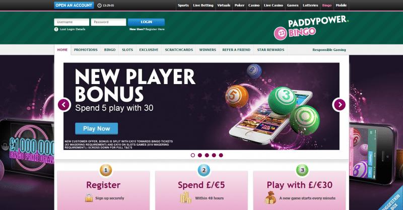 Paddy Power Bingo homepage preview