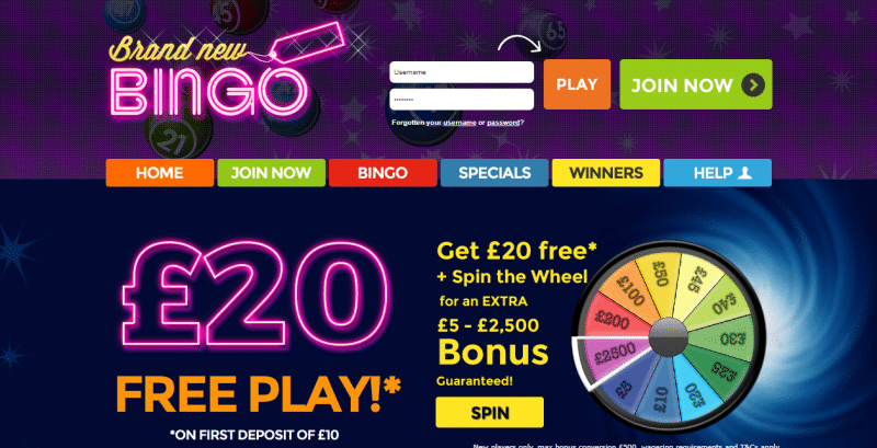 Brand New Bingo homepage