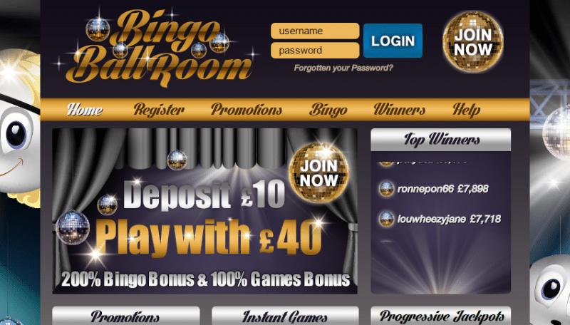 Bingo Ballroom homepage