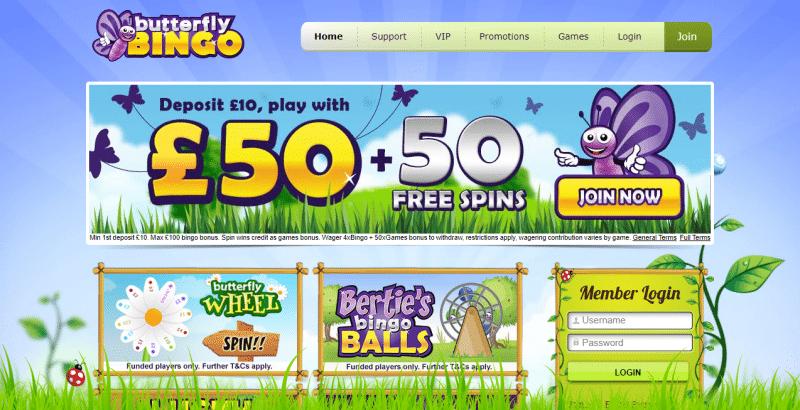 Butterfly Bingo homepage