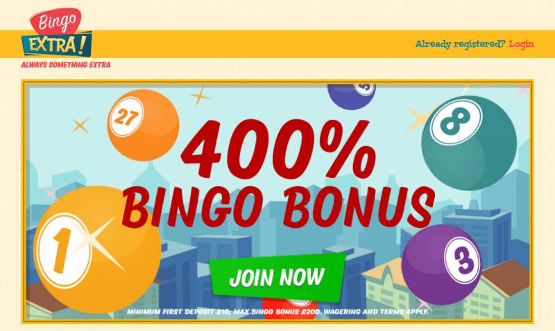 Bingo Extra homepage