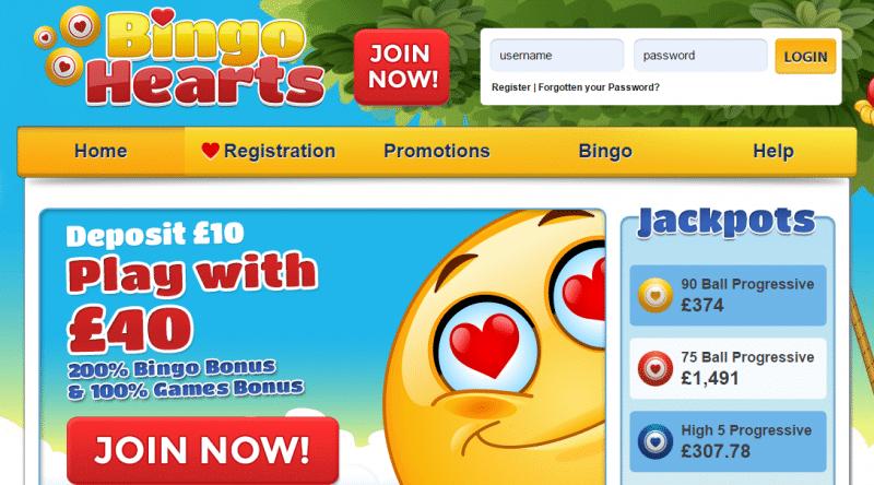 Bingo Hearts homepage