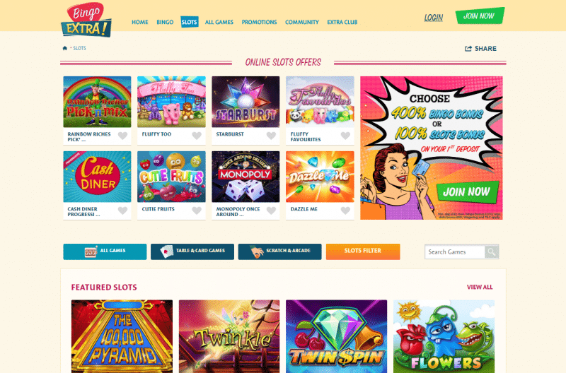 Slots games lobby