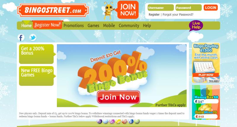Bingo Street homepage