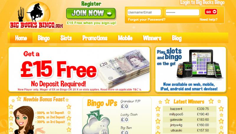 Big Bucks Bingo homepage