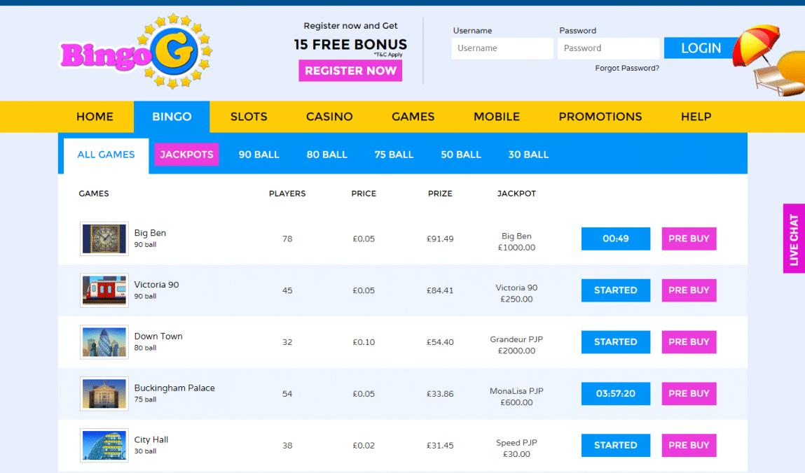 Bingo games lobby