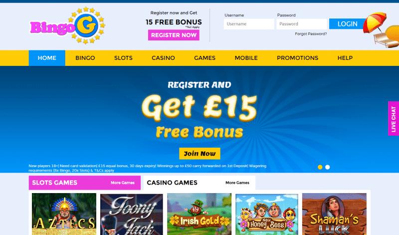 Bingo G Homepage