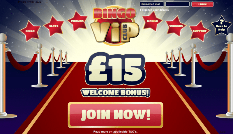 Bingo VIP Club homepage