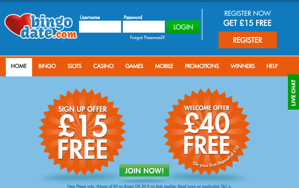 Bingo Date homepage