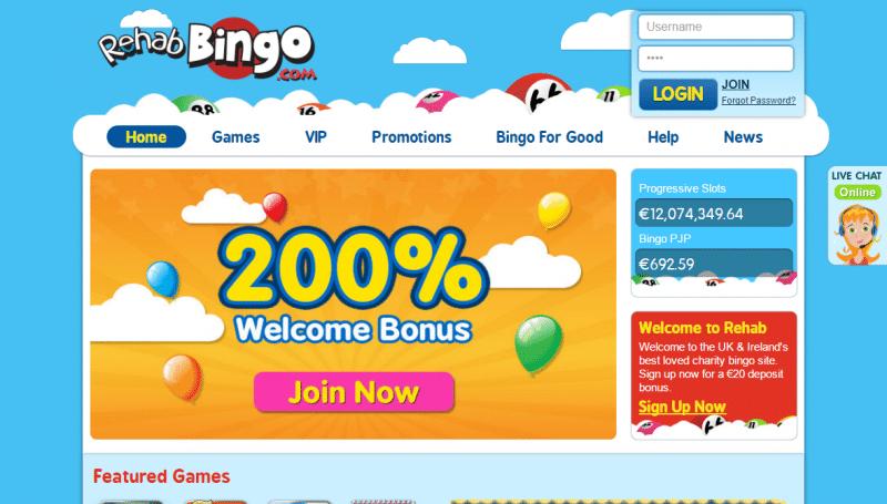 Rehab Bingo homepage