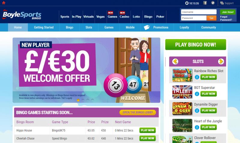 Boyle Bingo homepage