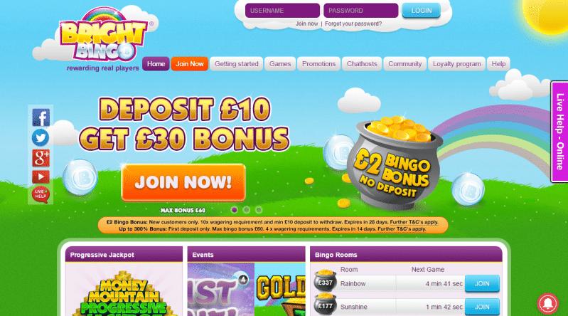 Bright Bingo homepage