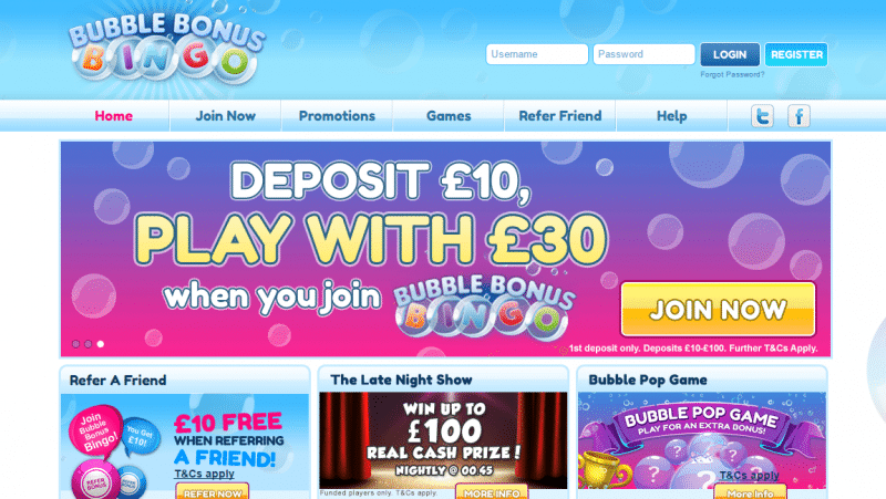 Bubble Bonus Bingo homepage