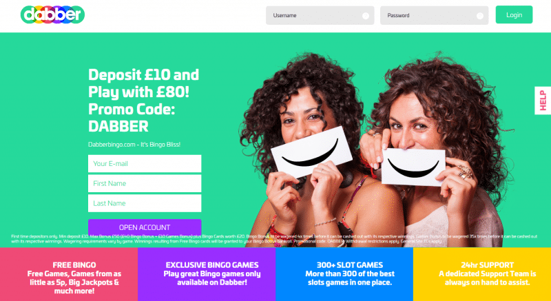 Dabber Bingo homepage