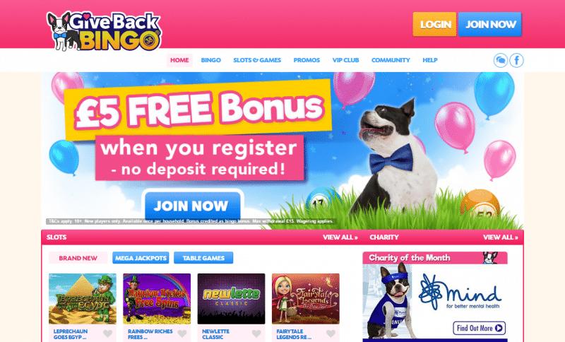 Give Back Bingo homepage