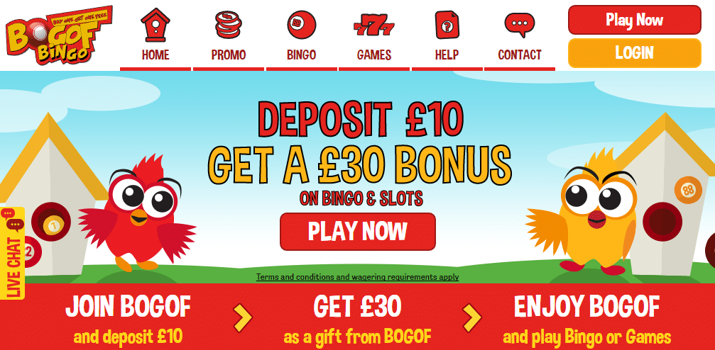 BOGOF Bingo homepage