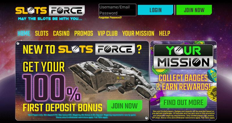 Slots Force homepage