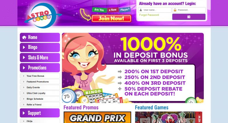 Astro Bingo homepage