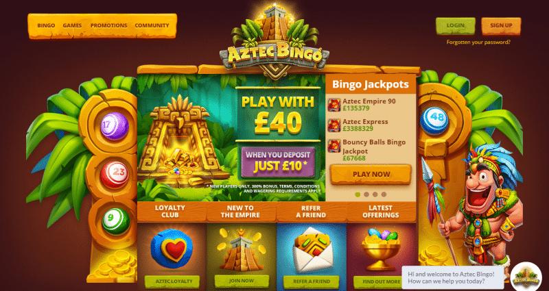 Aztec Bingo homepage