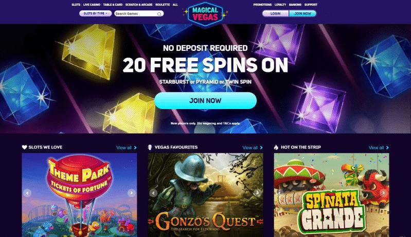 Magical Vegas homepage