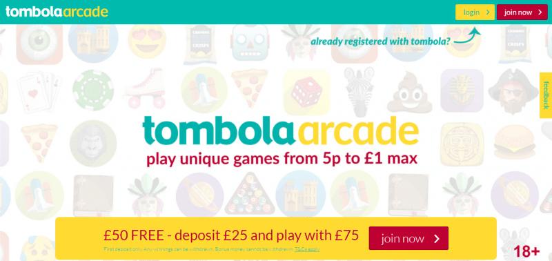 Tombola Arcade homepage