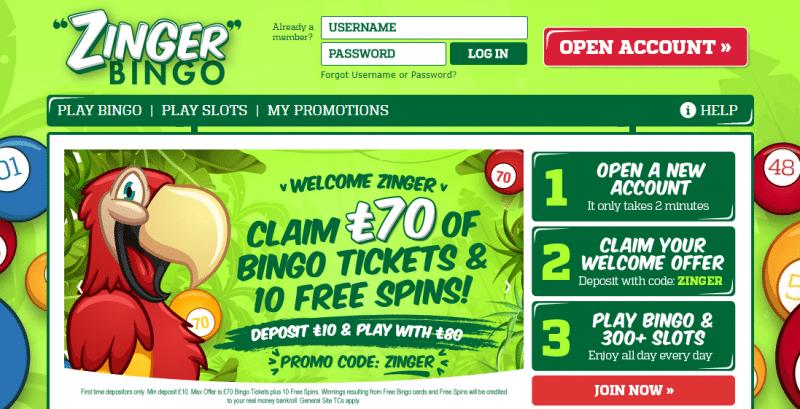 Zinger Bingo homepage